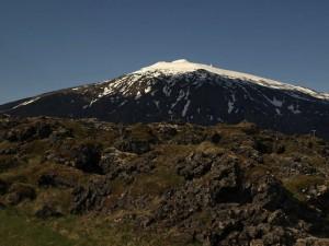 El glaciar del volcán dismunuye año a año. Foto de Hó.