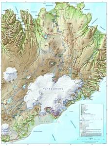 Mapa del Parque Nacional de Vatnajökull. Para ampliarlo pinche en él.