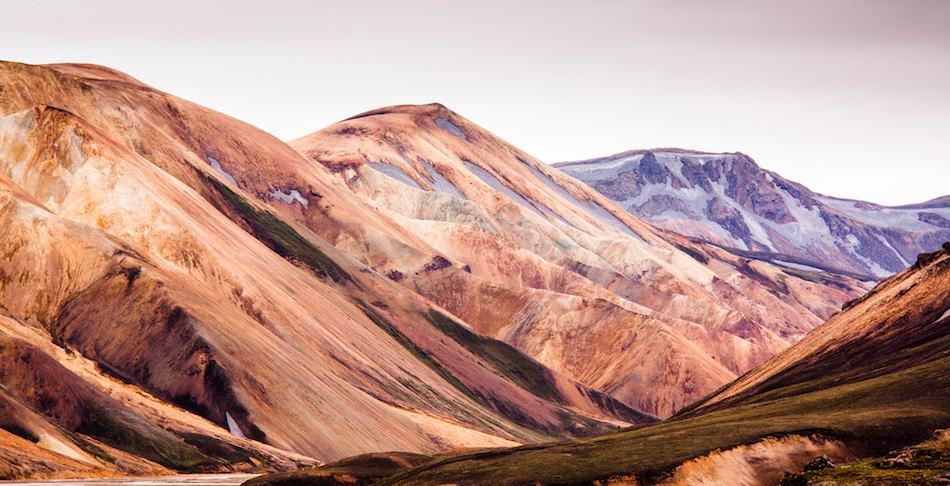 Típica vista de la zona de Landmannalaugar. Paisajes marcianos en Islandia.