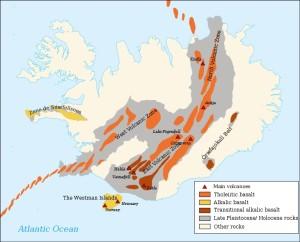 Mapa con las zonas volcánicas y la dorsal atlántica.