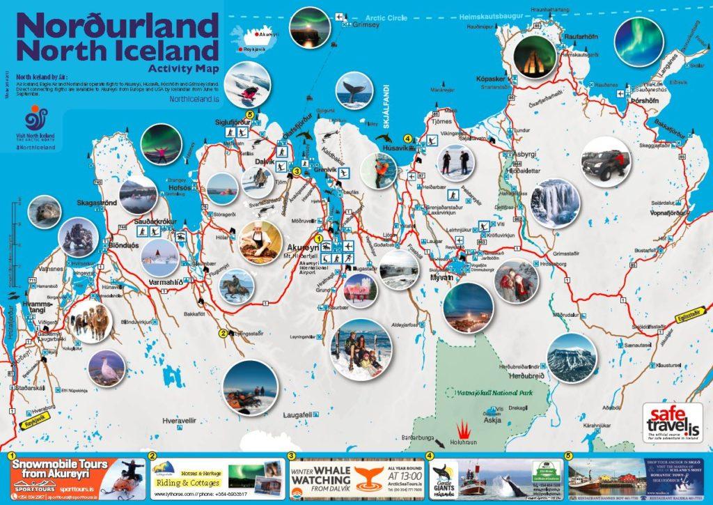 Mapa del norte de Islandia