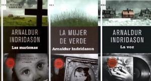 Portadas de las ediciones españolas de las obras de Indridason.