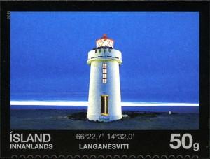 Faro de Langanes en un sello de los correos islandese. Foto Postur.
