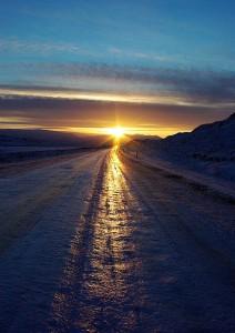 Carretera hacia el sol. Cerca de Egilsstadir.